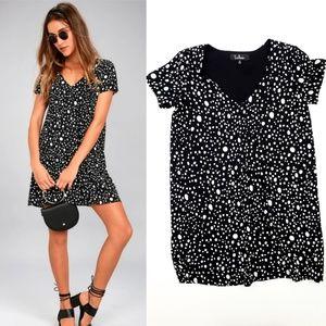 Lulus Polka Dot Black Shift Mini Dress Small
